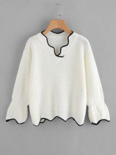 V Neck Contrasting Scalloped Sweater - White