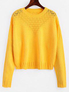 Hollow Out Crop Sweater - Amarillo S