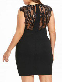 Plus Size Spitzenbesatz Surplice, Figurbetontes Kleid - Schwarz 5xl