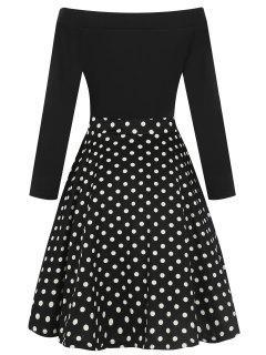 Vintage Off The Shoulder Long Sleeve Dress - Black 2xl
