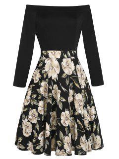 Vintage Off The Shoulder Flower Print Dress - Black 2xl