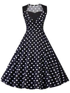Robe De Soiré Pin-Up à Pois Vintage  - Noir 2xl