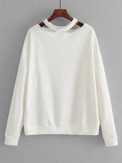 Loose Cotton Cut Out Sweatshirt - White S