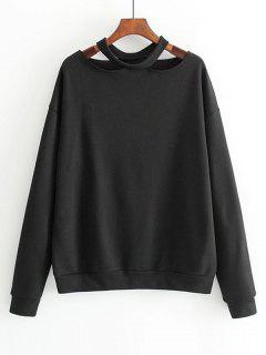 Loose Cotton Cut Out Sweatshirt - Black M