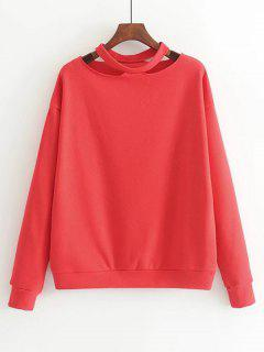 Loose Cotton Cut Out Sweatshirt - Red M