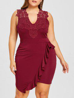 Plus Size Sleeveless Flounced Bodycon Dress - Wine Red 3xl