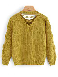 Back Lace Up Cable Knit Pullover Sweater - Ginger
