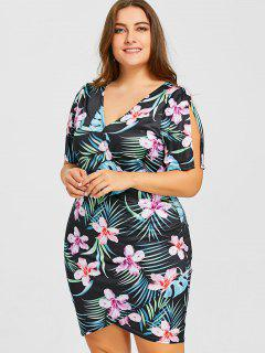 Tropical Leaf Print Plus Size Surplice Dress - Floral 3xl