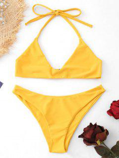Halter Bralette Bathing Suit - Yellow S