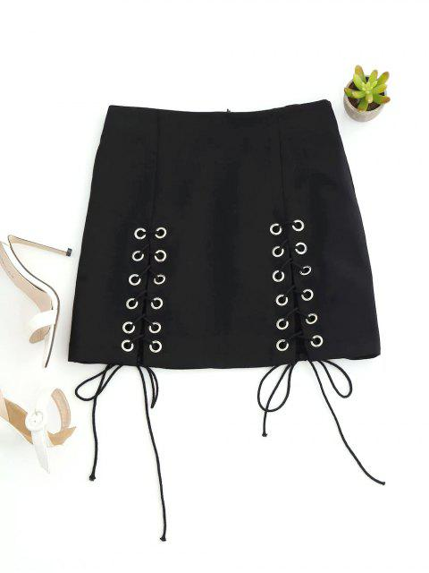 ladies Punk Lace Up Mini Skirt - BLACK S Mobile