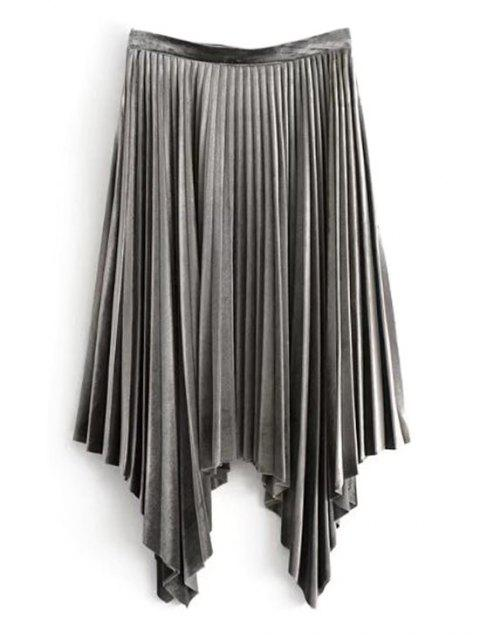 women's Velvet Asymmetrical Pleated Skirt - GRAY M Mobile