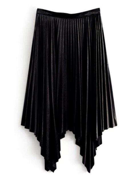 Falda plisada asimétrica de terciopelo - Negro M Mobile