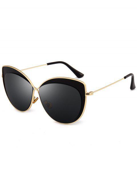 trendy Anti UV Metal Frame Cat Eye Sun Shades Sunglasses - DOUBLE BLACK  Mobile