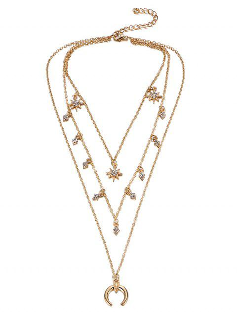 best Rhinestone Tribal Moon Sun Layered Necklace - GOLDEN  Mobile