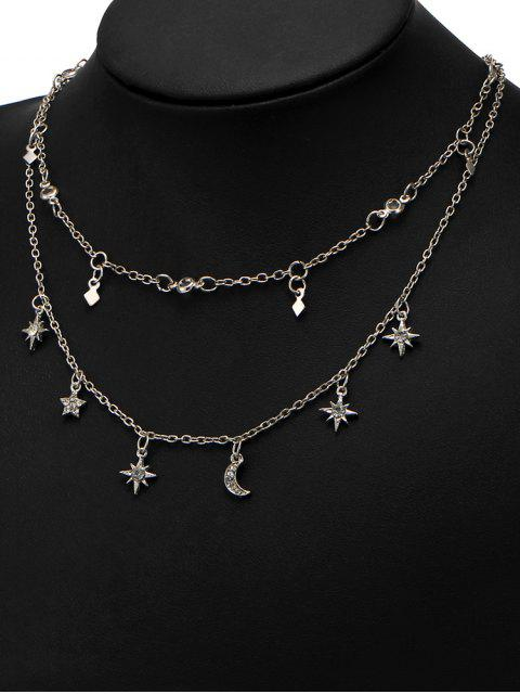 outfits Star Moon Charm Chain Necklace Set - SILVER  Mobile