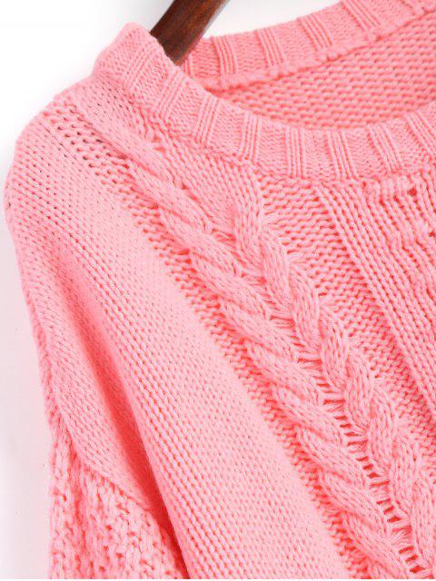 women's Cable Knit Lantern Sleeve Sweater - PAPAYA S Mobile