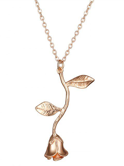 best Rose Flower Pendant Necklace - ROSE GOLD  Mobile