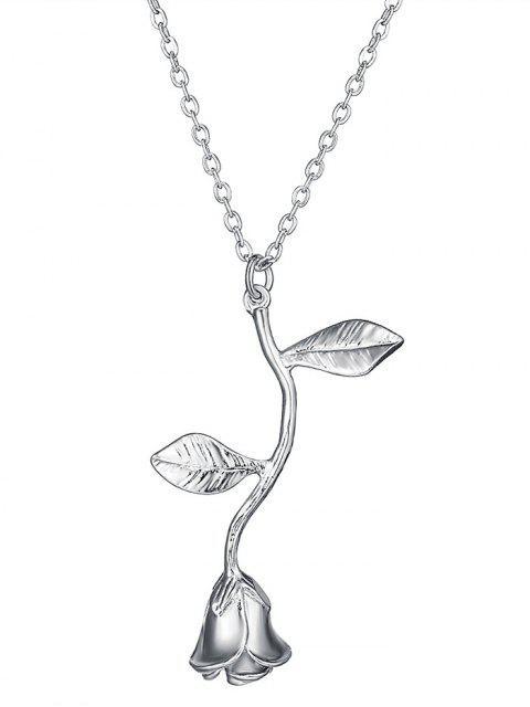 Rose Blume Anhänger Halskette - Silber  Mobile