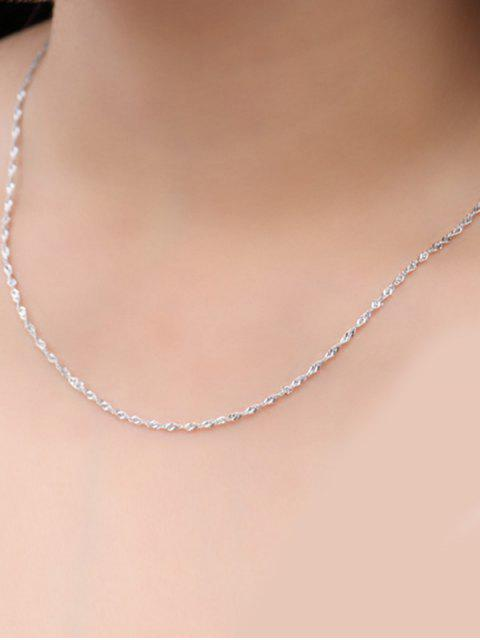shop Wave Chain Collarbone Necklace - SILVER  Mobile