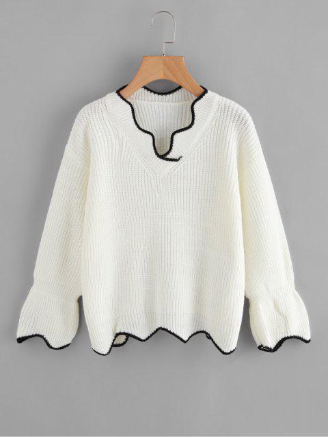 Suéter festoneado en contraste con cuello en V - Blanco Talla única Mobile