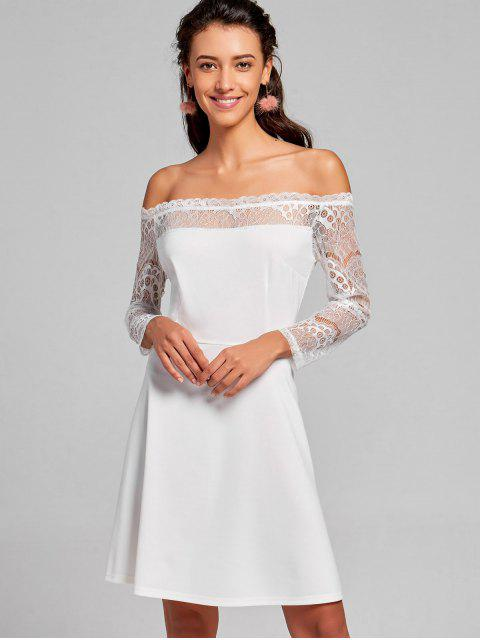 fashion Off The Shoulder Lace Panel Flare Dress - WHITE M Mobile