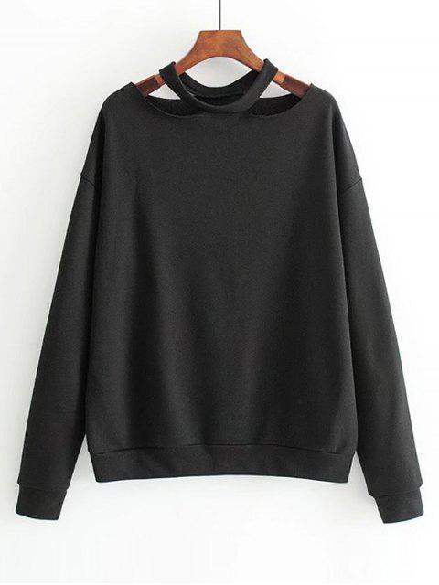 Lose Baumwolle Ausgeschnittenes Sweatshirt - Schwarz S Mobile