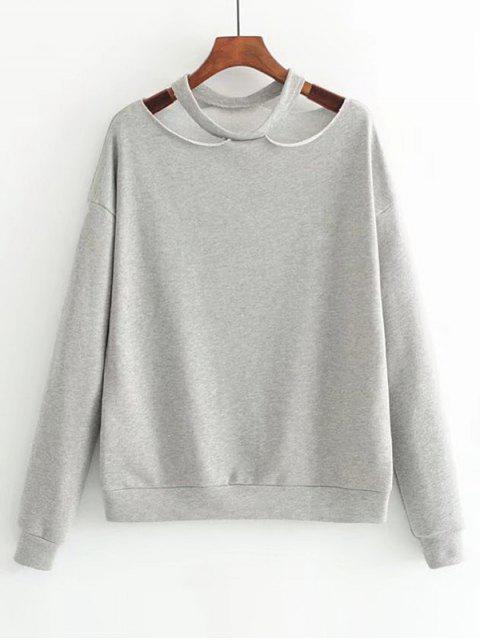 Lose Baumwolle Ausgeschnittenes Sweatshirt - Grau S Mobile