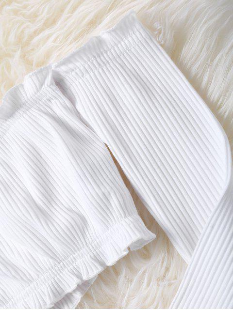 Mini-Saia Modelada com Top Ombro Caído Barriga de Fora Crochê - Branco M Mobile