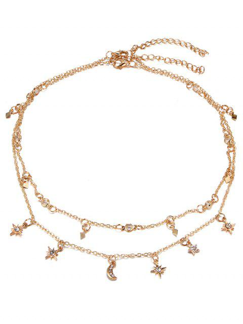 hot Star Moon Charm Chain Necklace Set - GOLDEN  Mobile