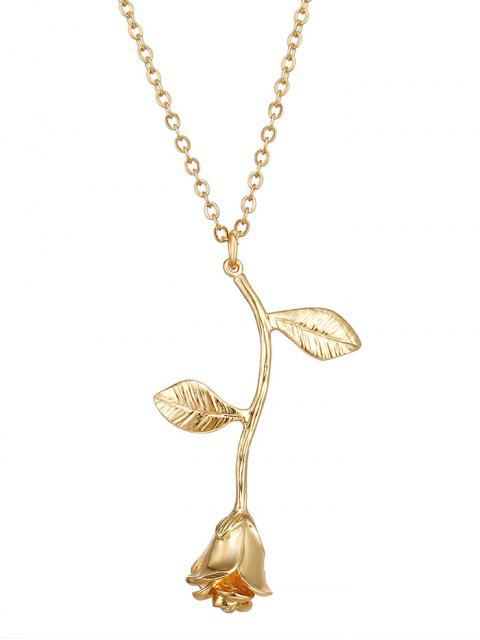 Collar colgante de flores de rosa - Dorado  Mobile