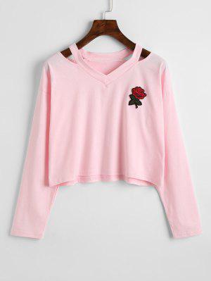 Sweatshirt avec Épaules Dénudées et Rose Brodée