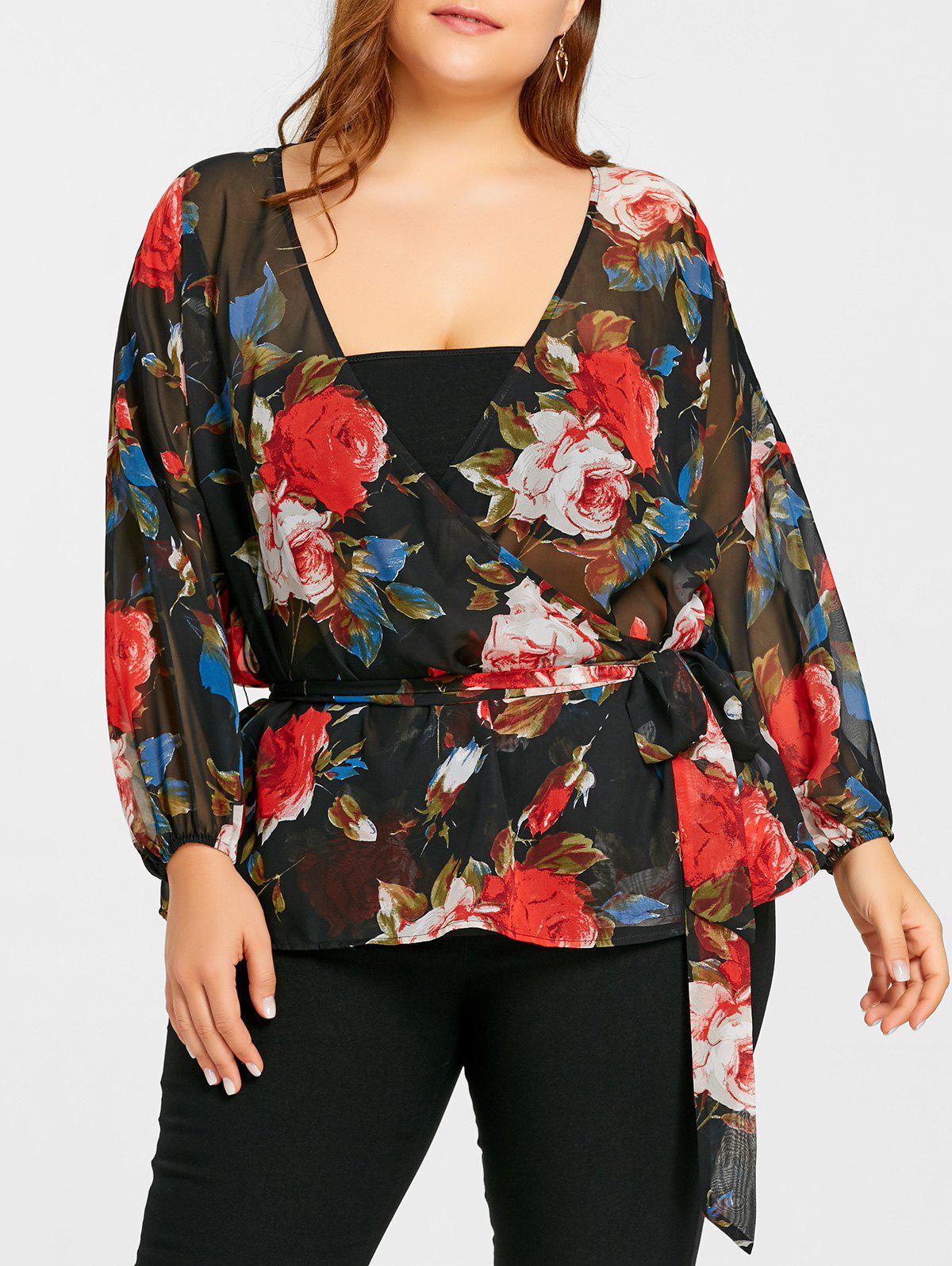 Plus Size Floral schiere Wrap Bluse