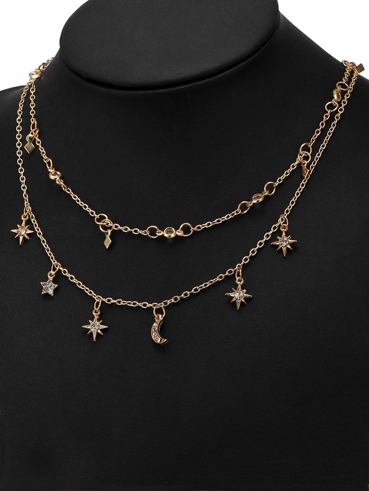 Star Moon Charm Chain Necklace Set