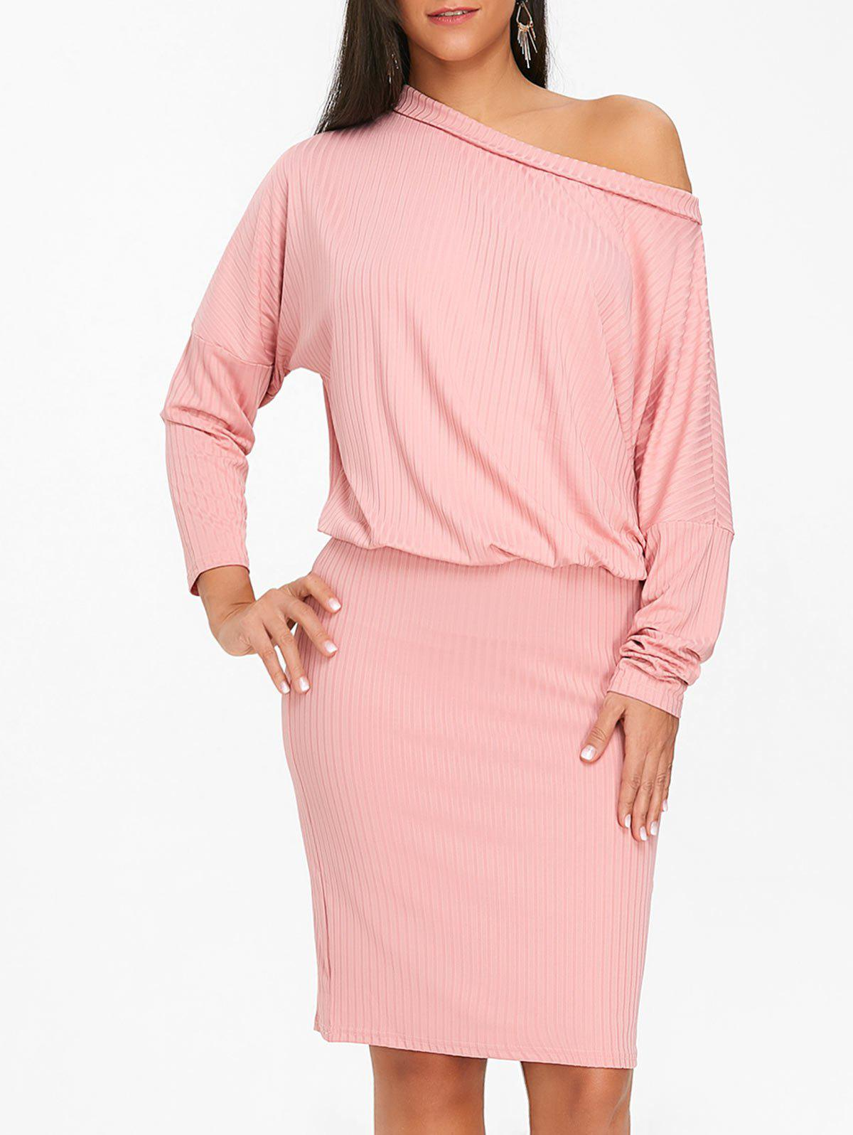 Skew Neck Batwing Sleeve Ribbed Dress 236836601