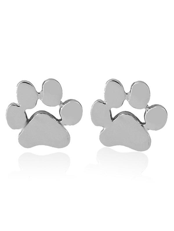 Cute Puppy Claw Stud Tiny Earrings, Silver