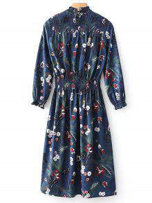 Robe Mi-longue à Manches Longues Et à Smocks - Floral L