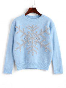 Jersey De Copo De Nieve Con Cuentas De Navidad - Azul