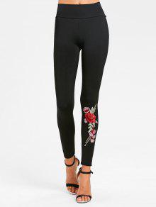 ليجنز عالية الخصر مرقع بالأزهار - أسود S