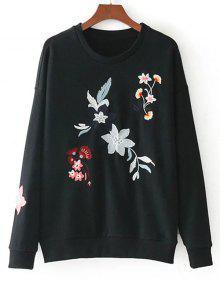 Suelta La Camiseta Bordada Floral Floja Del Hombro - Negro S