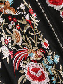 Capucha Negro S Up Drawstring Zip Bordada Sudadera Floral Con qRnXqOwzgx