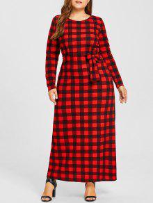زائد حجم فستان ماكسي منقوشة - أحمر 6xl