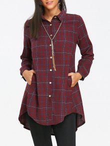 عالية منخفضة منقوشة قميص الكتان تونك - أحمر 2xl