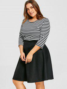 c24b782f27cf 33% OFF  2019 Plus Size Striped Top With Skirt In BLACK
