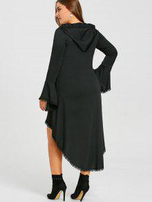 4a7de950998 38% OFF  2019 Plus Size Gothic High Low Hooded Dress In BLACK XL