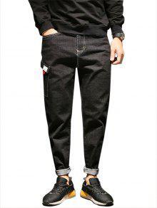 سحاب الجيب تصميم الحريم جينز - أسود 34