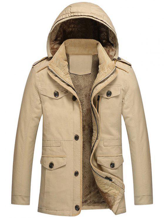 best Hooded Fur Lining Jacket - KHAKI 5XL