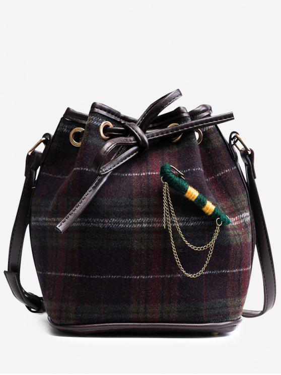 String Plaid Crossbody Bag - Púrpura