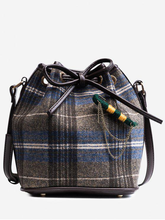 String Plaid Crossbody Bag - Azul