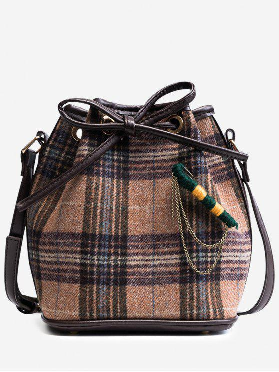 latest String Plaid Crossbody Bag - KHAKI