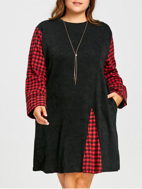 Plus Size Tartan Panel Knitted Long Sleeve Dress Black Plus Size